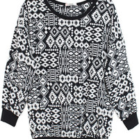 AZTEC BLACK TRIBAL PRINT SHIRT BOMBER STYLE SLEEVE BLOUSE TOPS at Miss Dandy | Miss Dandy