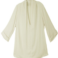 WOMEN IVORY CHIFFON DRAPED V-NECK SHIRT TOP CUFFED SLEEVE BLOUSE at Miss Dandy | Miss Dandy