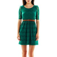 by&by Belted Lace Dress