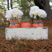 Rustic Mason Jar Distressed Wooden Box Centerpiece, Rustic Wedding Decor with 3 Mason Jars