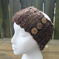 Brown Flecked Chunky Ribbed Crochet Headband Earwarmer With Buttons, Ready To Ship