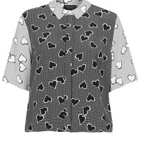 GINGHAM HEART PRINT SHIRT