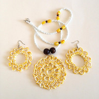 Sol Amarillo Crochet Necklace Set
