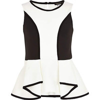 GIRLS CREAM ANGLED SCUBA PEPLUM TOP