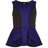 GIRLS BLUE ANGLED SCUBA PEPLUM TOP