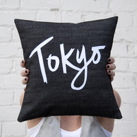 Tokyo Pillow, 12x12 inches, Black and White
