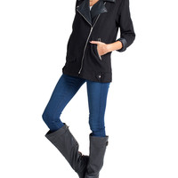 Leather Trim Crepe Jacket