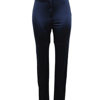 WOMEN NAVY SATIN HIGH SHINY WAISTED DISCO STRETCH SKINNY PANTS at Miss Dandy | Miss Dandy