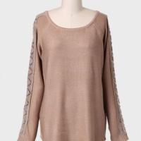Caramel Latte Lace Detail Sweater