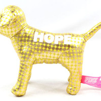 NWOT Victoria's Secret PINK 'HOPE' Yellow Metallic Dog