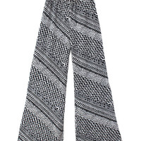 WOMEN BOHO AZTEC TRIBAL WIDE LEG PALAZZO WIDE LEG PANTS HIGH WAIST at Miss Dandy | Miss Dandy