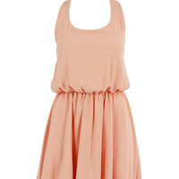 A LINE SHEER CHIFFON BOW BACK CUT OUT MINI SHORT SKATER DRESS at Miss Dandy | Miss Dandy