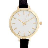 Large Face Slim Strap Watch