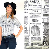 NEWSPAPER old copy CLASSIFIED ADDS novelty bulletin blouse top, extra small-medium