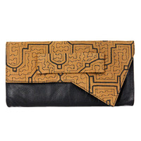 ETHNIC PRINT LEATHER ENVELOPE WOMEN BLACK CLUTCH BAG PURSE TRIBAL at Miss Dandy | Miss Dandy