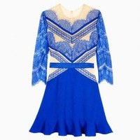 Blue Lace & Nude 3/4 Sleeve Flare Dress