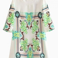 Multi Color Printed 3/4 Sleeve Tunic Dress