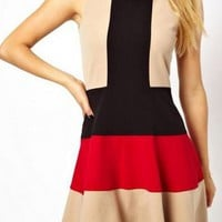Red, Black & Tan Contrast Sleeveless Skater Dress