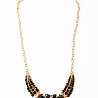 WOMEN GOLD RHINESTONE STONE NECKLACE CHAIN COLLAR JEWELRY at Miss Dandy | Miss Dandy