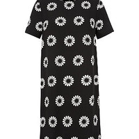 Black Daisy Print Tunic Dress