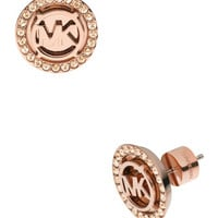Michael Kors Logo Pave Stud Earrings, Rose Golden