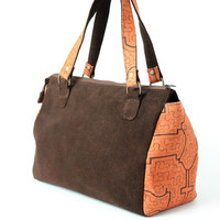 WOMEN ETHNIC BROWN SUEDE LEATHER SPEEDY BAG SATCHEL PURSE at Miss Dandy | Miss Dandy