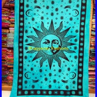 Indian Sun Hippie Hippy Tapestry Wall Hanging Throw Cotton Bed cover Bohemian Bed Decor Bed Spread Ethnic Decorative Art