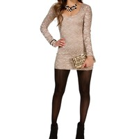 Taupe Lace Long Sleeve Tunic