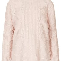 Knitted Angora Cable Jumper