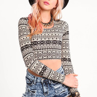 TRIBAL LONG SLEEVE CROP TOP