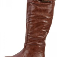 Bamboo Montage-01n Brown Buckle Riding Boots | MakeMeChic.com