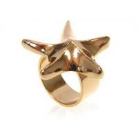 Gold Plated Brass Star Ring | gazelle jewelry