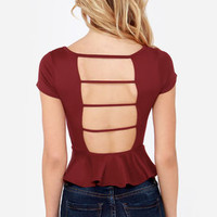 LULUS Exclusive Loud and Clear Wine Red Peplum Top