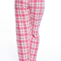 Plush Life Plaid Drawstring Plush Pajama Bottoms - Pink