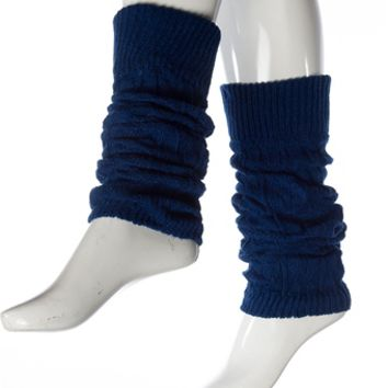 Sneak a Peek Cable Knit Leg Warmers - Blue