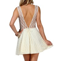 Ivory Lace Sleeveless Party Dress