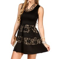Black/Taupe Skater Lace Dress