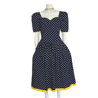 1980s Vintage Dress Polka Dots Full Skirt Yellow Bows Antonia Collection