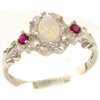 VINTAGE design 925 Solid Sterling Silver Natural Fiery Opal & Ruby Ring - Finger Sizes 4 to 12 Available