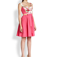 Printed Panel Bow-Belt Dress