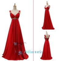 Two-shoulder Sleeveless Floor-length Chiffon homecoming dress prom dress wedding dress Bridesmaid Dress With Beading