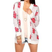 Rose Floral Open Cardigan