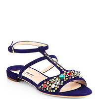 Jeweled Suede Sandals