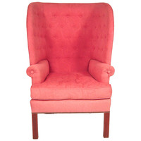 A Cozy and Sculptural Barrel Back Wing Chair