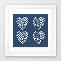 Hearts Heart x2 Navy Framed Art Print by Project M
