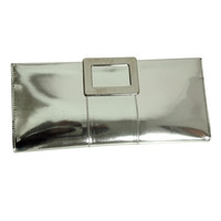 Rare Roger Vivier Silver Metallic Clutch with Signature Buckle