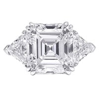 Square Emerald Cut Diamond Three Stone Engagement Ring