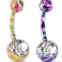 (2pcs) Paint Splatter Navel Ring with Large CZ 14G