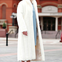 Winter White Mink Faux Fur Signature Full-Length Coat | Fabulous-Furs