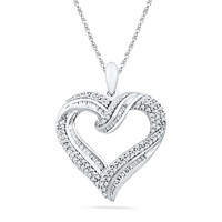3/4 CT. T.W. Diamond Looping Heart Pendant in Sterling Silver
